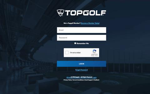 Screenshot of Login Page topgolf.com - Get your Topgolf membership online! - captured July 20, 2019
