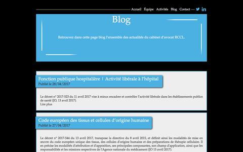 Screenshot of Blog rccl.fr - Cabinet d'avocat, Paris - Le Blog | RCCL Avocat - captured Oct. 20, 2017