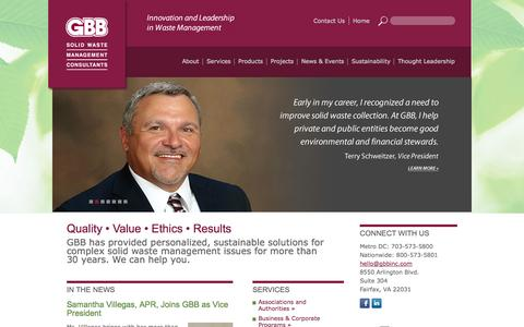 Screenshot of Home Page gbbinc.com - Gershman, Brickner & Bratton, Inc - Solid Waste Management Consultant - captured Oct. 2, 2014