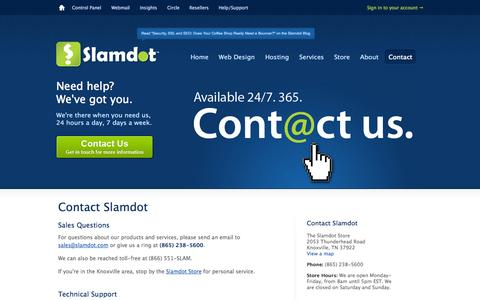 Screenshot of Contact Page slamdot.com - Contact us for help 24 hours a day, 7 days a week — Slamdot - captured Sept. 19, 2014