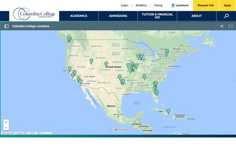 Screenshot of Locations Page ccis.edu - Local Centers: Columbia College - captured Nov. 17, 2017