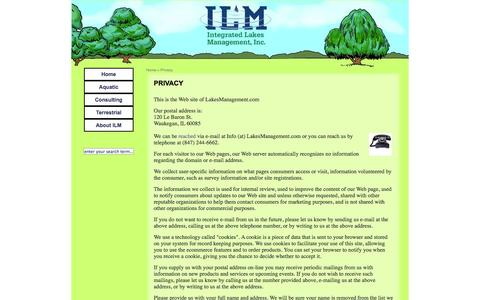Screenshot of Privacy Page lakesmanagement.com - Integrated Lakes Management: Privacy - captured Oct. 6, 2014