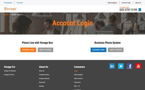 Screenshot of Login Page vonage.co.uk - Account Login | Vonage UK - captured Jan. 15, 2018