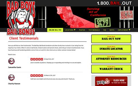 Screenshot of Testimonials Page badboysbailbonds.com - Client Testiomials | What Our Many Clients Have To Say - captured May 31, 2017