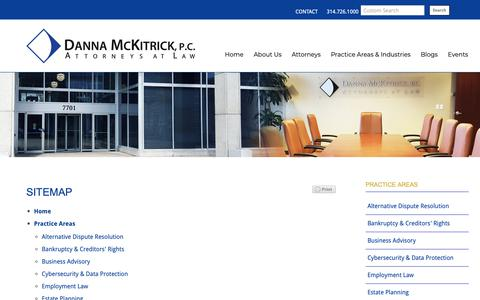 Screenshot of Site Map Page dannamckitrick.com - Sitemap |  Danna McKitrick, P.C. - Full-Service St. Louis Law Firm - captured Oct. 7, 2018