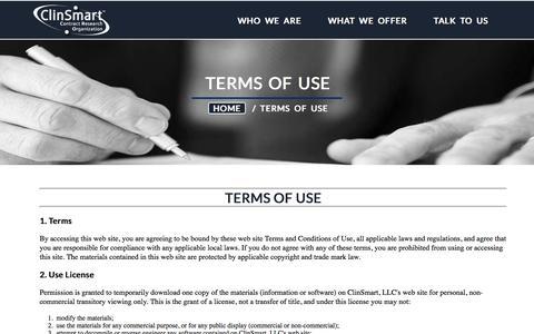 Screenshot of Terms Page clinsmart.com - ClinSmart >> Terms of Use - captured Nov. 7, 2016