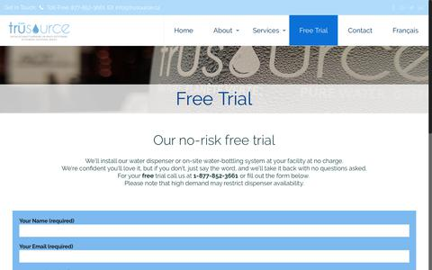 Screenshot of Trial Page trusource.ca - Our no-risk free trial - Trusource Bottle-less Water Coolers - captured Oct. 20, 2018