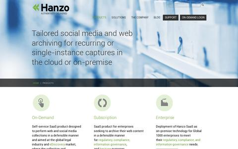 Screenshot of Products Page hanzoarchives.com - Social Media and Web Archiving Products and Services - Hanzo Archives - captured July 18, 2014