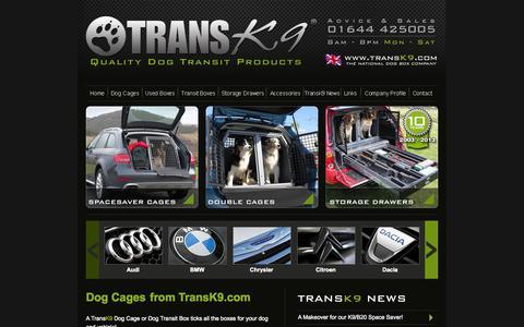 Screenshot of Home Page transk9.com - Dog Cages   Dog Cage   Dog Crates - TransK9 - captured Oct. 7, 2014