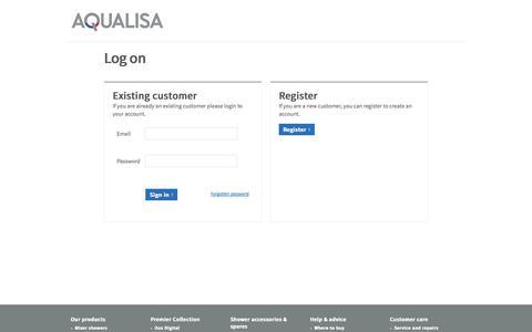 Screenshot of Login Page aqualisa.co.uk - Sign In | Aqualisa Login | Home of Sensational Showering - captured Sept. 19, 2014
