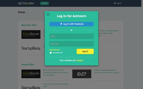 Screenshot of Press Page activorm.com - Press - Activorm.com - captured Sept. 30, 2014