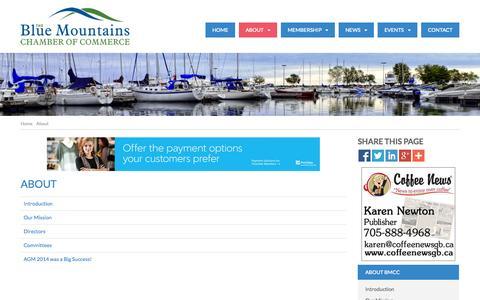 Screenshot of About Page bluemountainschamber.ca - About - The Blue Mountains Chamber of Commerce - captured Oct. 5, 2014