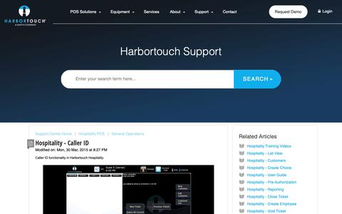 Screenshot of Support Page harbortouch.com - Hospitality - Caller ID : Harbortouch Support Center - captured Oct. 9, 2018
