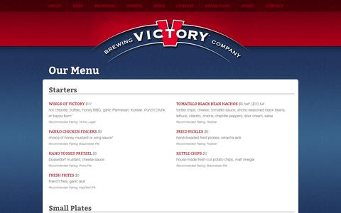 Screenshot of Menu Page victorybeer.com - Our Menu - Victory Brewing Company - captured Oct. 26, 2014