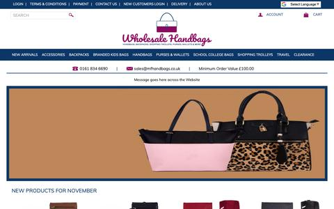 Screenshot of Home Page wholesalehandbags.co.uk - Wholesale Handbags | Wholesaler Handbags | Handbag wholesales | UK - captured Nov. 3, 2018