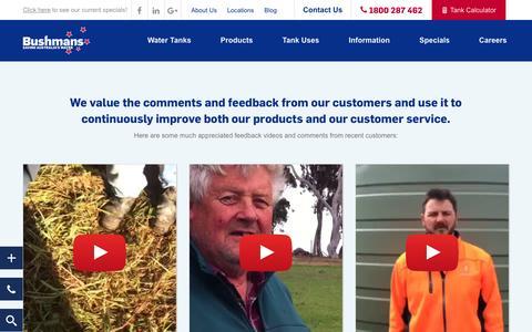 Screenshot of Testimonials Page bushmantanks.com.au - Customer Testimonials - Customer Feedback - Bushmans Tanks - captured Oct. 27, 2016