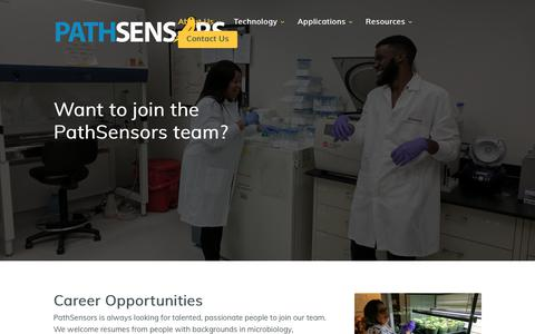 Screenshot of Jobs Page pathsensors.com - PathSensors BioTech Jobs | Join the PathSensors Team - captured Nov. 10, 2018