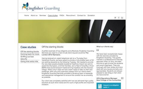 Screenshot of Case Studies Page kingfisherguarding.com - Kingfisher Guarding - captured Oct. 17, 2017