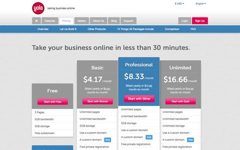 Screenshot of Pricing Page yola.com - Yola | Pricing Information, Premium Packages and Comparison - captured Sept. 17, 2014