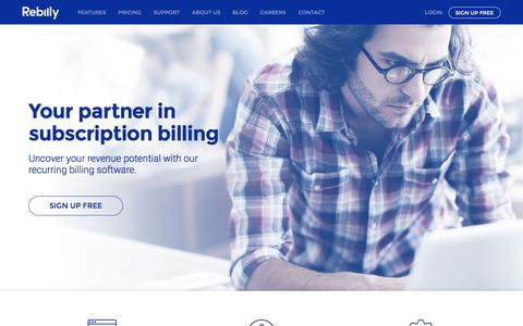 Screenshot of Home Page rebilly.com - Recurring Billing & Payments Made Easy | Rebilly - captured Jan. 25, 2016