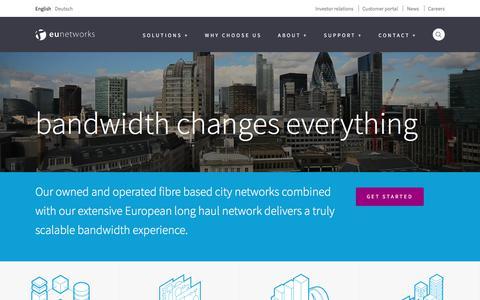 Screenshot of Home Page eunetworks.com - Home - euNetworks - captured July 25, 2018