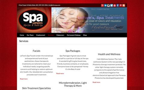 Screenshot of Services Page leforespa.com - Services | LeFore's Spa - captured Jan. 27, 2016