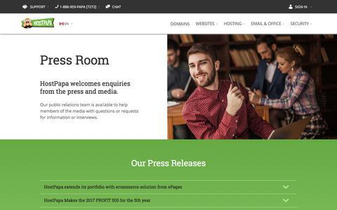 Screenshot of Press Page hostpapa.ca - HostPapa Web Hosting   Newsroom   HostPapa News - captured July 13, 2018