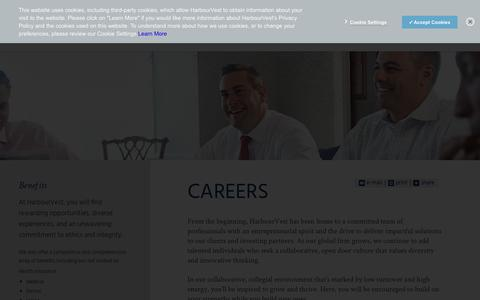 Screenshot of Jobs Page harbourvest.com - Private Equity Careers | HarbourVest - captured Sept. 27, 2018