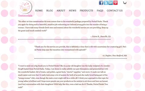 Screenshot of Testimonials Page periodpacks.com - Hear from Happy Period Packs Customers - captured Oct. 2, 2014