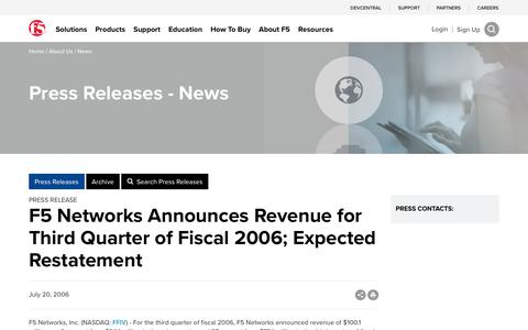 Screenshot of Press Page f5.com - F5 Networks Announces Revenue for Third Quarter of Fiscal 2006; Expected Restatement - captured March 8, 2018
