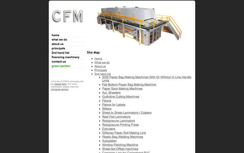 Screenshot of Site Map Page cfmachinery.com - CFM | Site Map | Printing Machinery and Converting Machinery - captured Oct. 1, 2014
