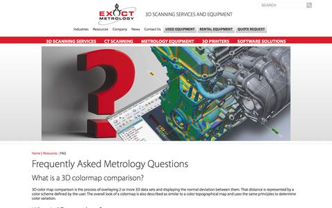 Screenshot of FAQ Page exactmetrology.com - Frequently Asked Metrology Questions - captured Sept. 4, 2017