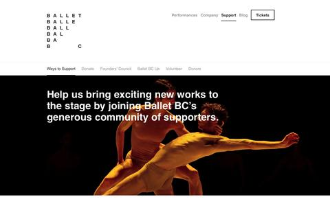 Screenshot of Support Page balletbc.com - Ways to Support - Ballet BC - captured Dec. 29, 2015