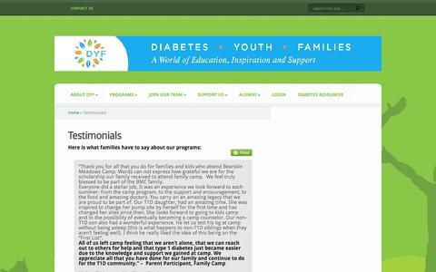 Screenshot of Testimonials Page dyf.org - Testimonials | DYF - captured Jan. 22, 2016