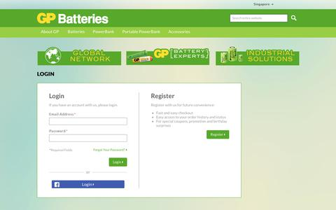Screenshot of Login Page gpbatteries.com - GP Batteries -  Customer Login - captured March 11, 2018