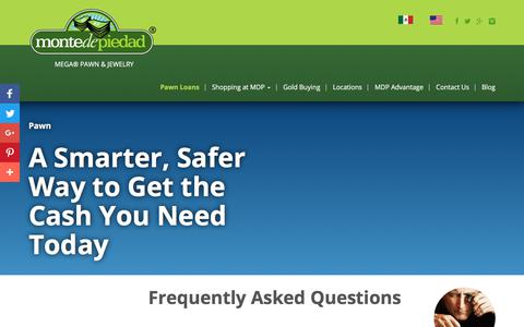 Screenshot of FAQ Page montedepiedad.com - How Does Pawning Work & Other Frequently Asked Questions - captured Sept. 20, 2018