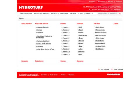 Screenshot of Site Map Page hydroturfinternational.com - HYDROTURF INTERNATIONAL,Golf & Utility Vehicles,Club Car Uae, Trojan Batteries, Turf care Machinery, Pumps, RO Desalination, Landscaping UAE - captured Oct. 3, 2014