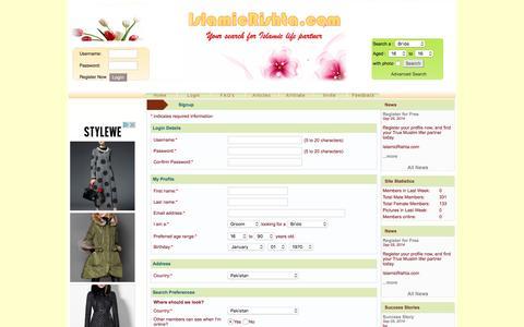 Screenshot of Signup Page islamicrishta.com - Muslim Islamic Rishta Matrimonial Match Making Online - Islamic Rishta - captured March 17, 2016
