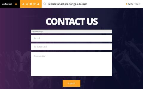 Screenshot of Contact Page audiomack.com - Audiomack | Moving Music Forward - captured April 30, 2016