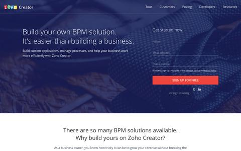 Screenshot of Landing Page zoho.com - Free BPM Software | Manage your business process online - Zoho Creator - captured Aug. 24, 2016