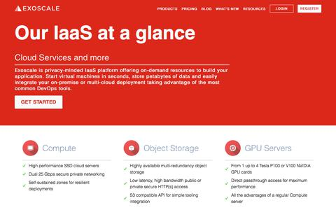 Screenshot of Products Page exoscale.com - Exoscale Cloud Computing Products: GPU, Compute, DNS & More - captured June 27, 2019