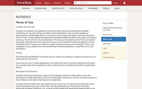Screenshot of Terms Page arcamax.com - Terms of Use   Reference   ArcaMax Publishing - captured Jan. 1, 2020