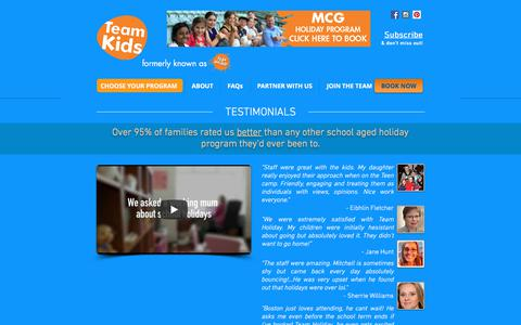 Screenshot of Testimonials Page teamholiday.com.au - Team Holiday Testimonials, Reviews, Forums - captured July 6, 2018