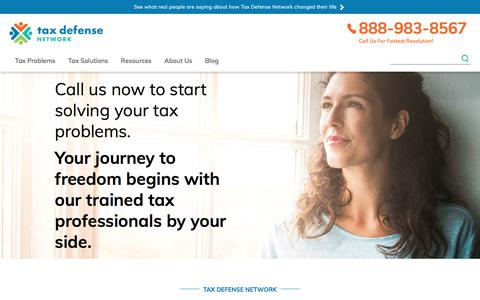 Screenshot of Home Page taxdefensenetwork.com - Tax Defense Network -- Top Tax Resolution Company - captured Nov. 20, 2017