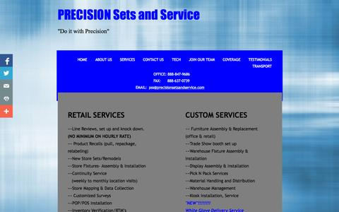 Screenshot of Services Page precisionsetsandservice.com - Services - captured Sept. 30, 2014