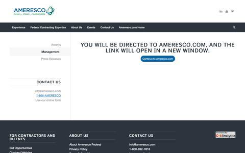 Screenshot of Team Page ameresco.com - Management - Ameresco Federal - captured Oct. 13, 2018