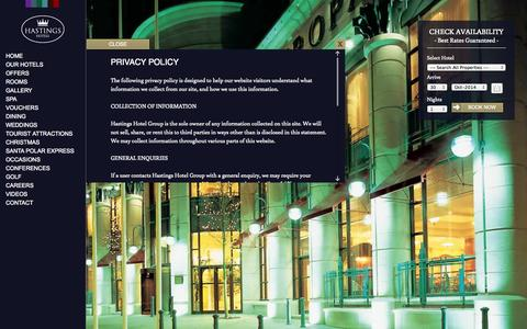 Screenshot of Privacy Page hastingshotels.com - Privacy Policy - captured Oct. 30, 2014