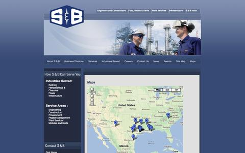 Screenshot of Maps & Directions Page sbec.com - Maps - S & B Engineers and Constructors, Ltd. - captured Oct. 3, 2014
