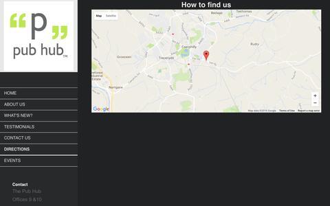 Screenshot of Maps & Directions Page thepubhub.co - The Pub Hub - Directions - captured Dec. 22, 2016