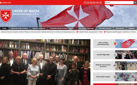 Screenshot of Home Page orderofmaltafederal.org - The Order of Malta Federal Association, USA is a lay religious order of the Catholic Church. - captured June 11, 2018